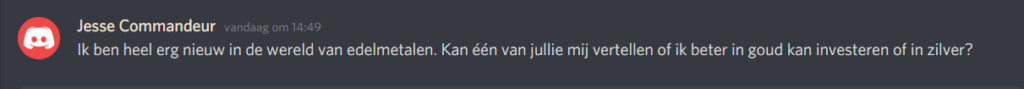 Vraag in de chat